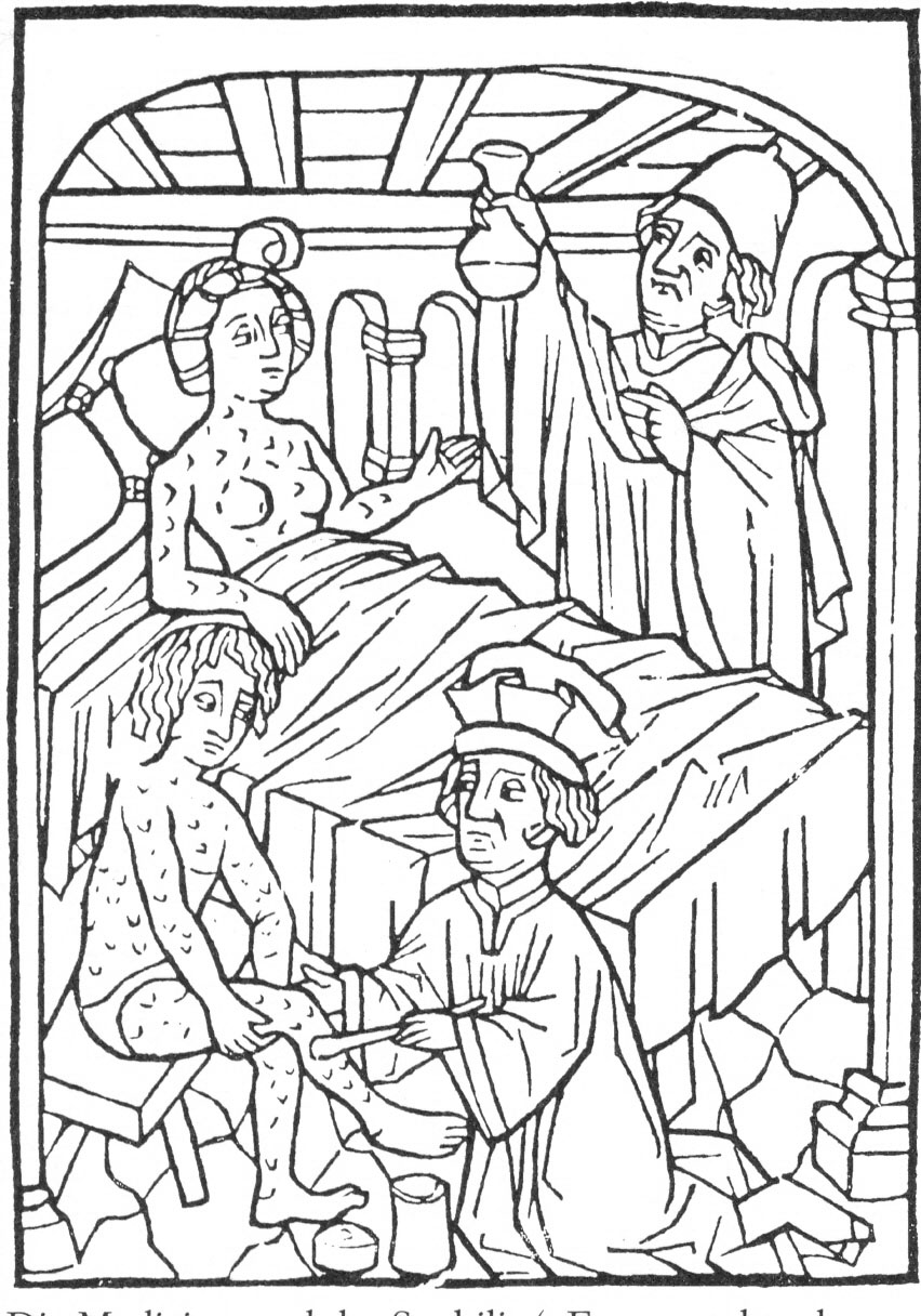 Early modern medical illustration of people suffering from syphilis