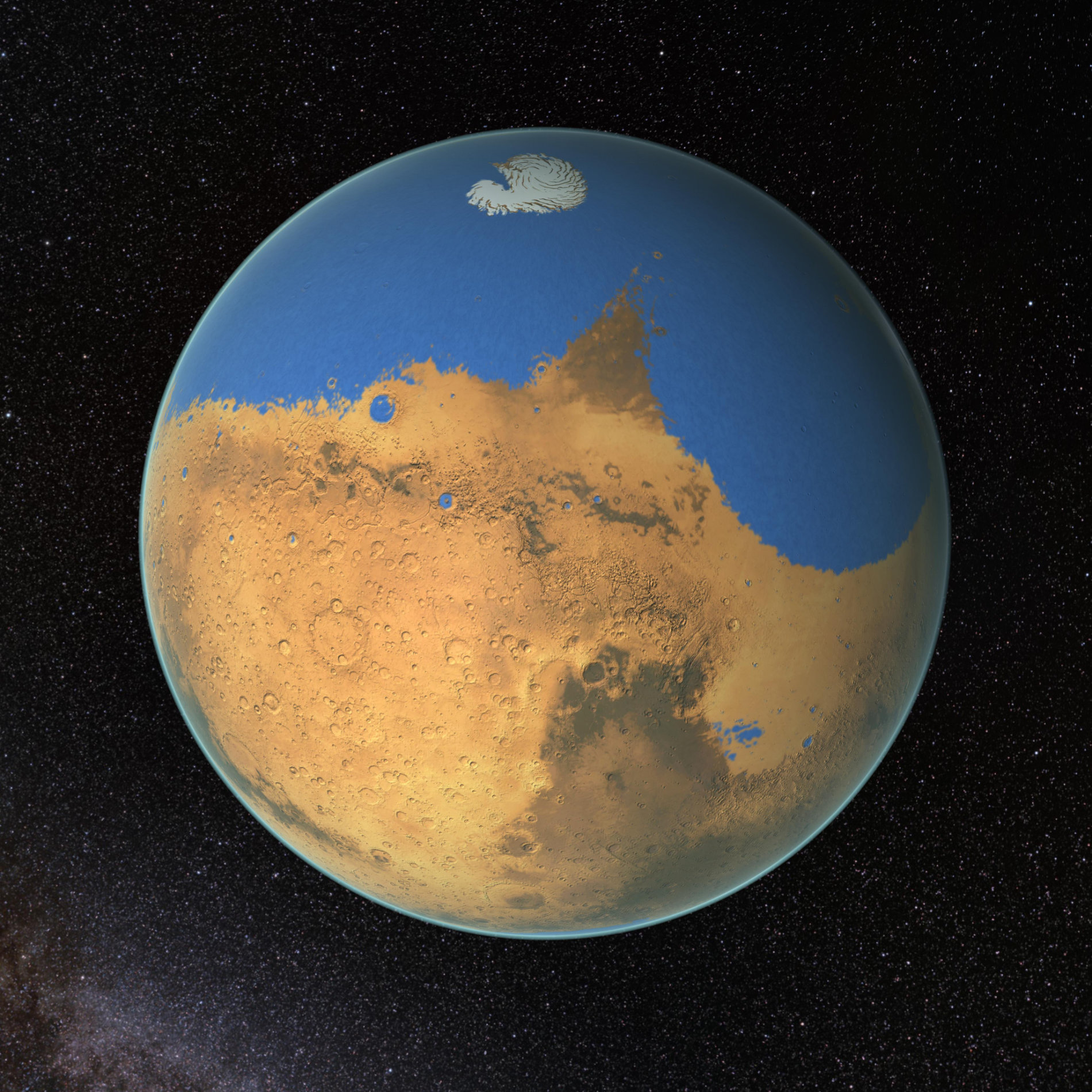 A primitive ocean on Mars proposed by NASA scientists