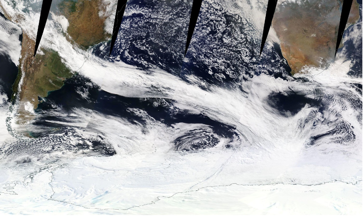 A band of clouds in an atmospheric river extending from South America to the Antarctic sea ice zone