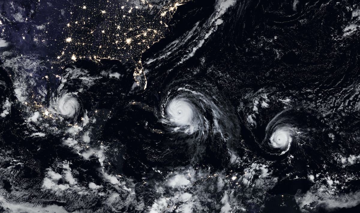 Pictured is a composite image of nightlights (human-made lights observed from space) and hurricanes Jose, Katia, and Irma.