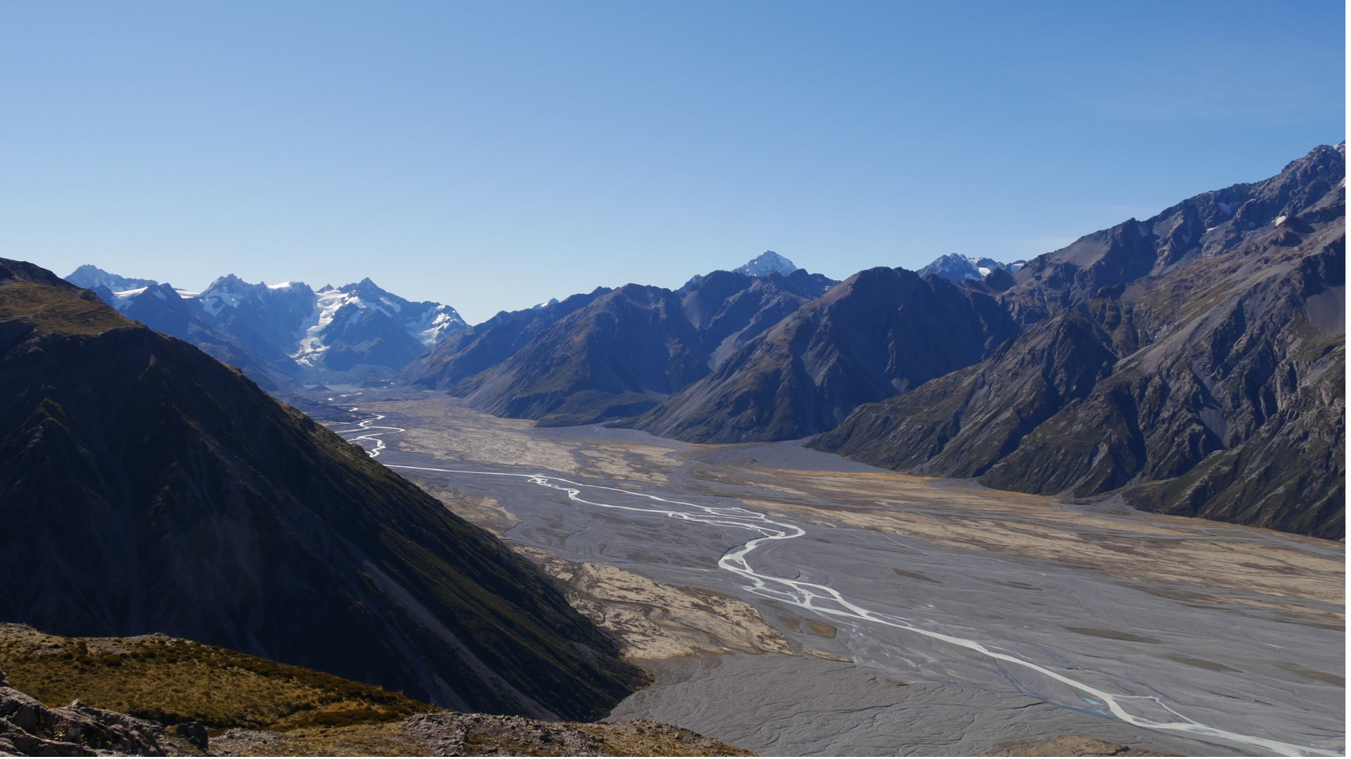 Godley glacier and river in New Zealand's Southern Alps